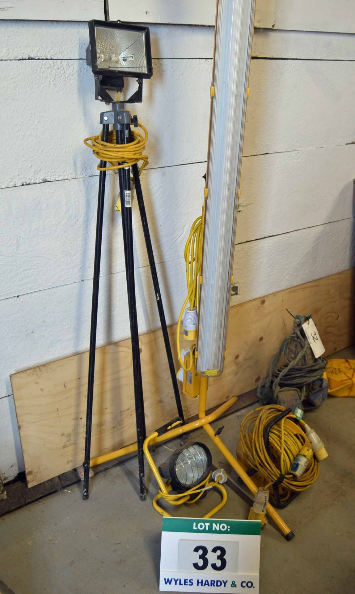 Lot 33 - Three Various 110V Site Lamps with Two 110V Extension Leads