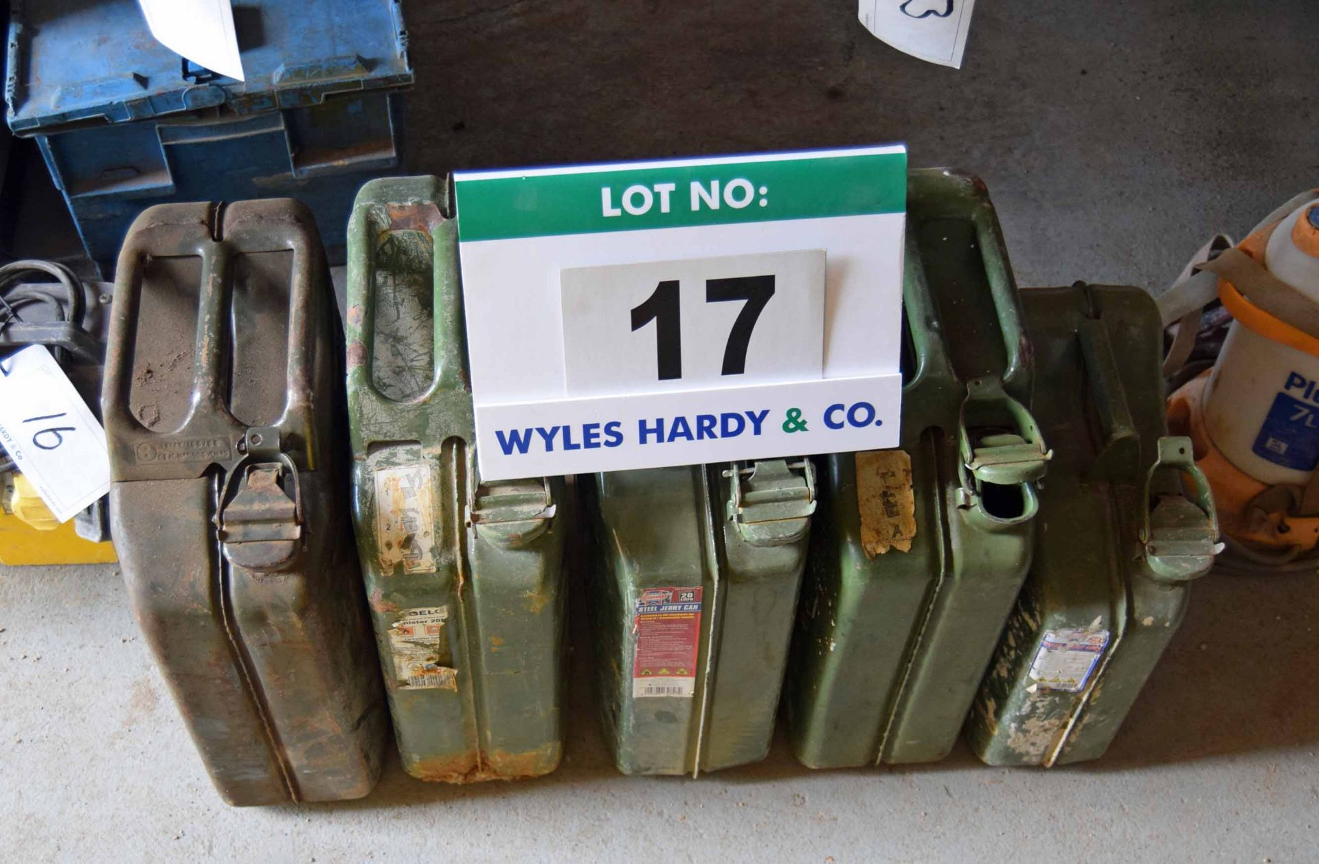Lot 17 - Four 20-Litre Steel Jerry Cans and One 10-Litre Steel Jerry Can