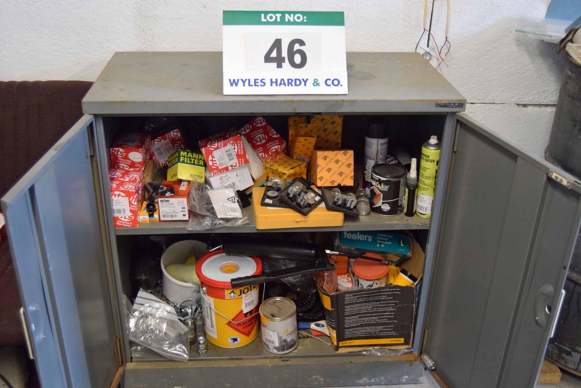 Lot 46 - A Grey Steel Double Door Low Workshop Cabinet and Contents of Assorted Mini Excavator Service Parts
