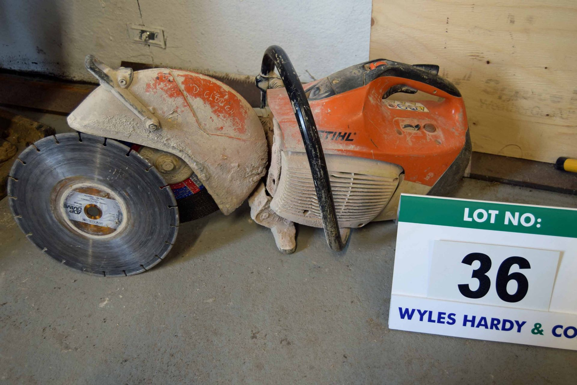 Lot 36 - A STIHL TS410 Petrol Driven Circular Stone Saw with fitted Fibre Disc and Additional Diamond Blade