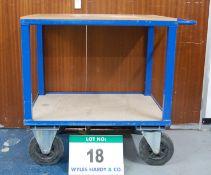 A Blue Steel Framed 2-Tier Warehouse Trolley