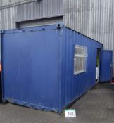 An Approx. 20ft x 8ft6 Steel Site Canteen Cabin with Electric Light, Heat and Hot Water, Contents
