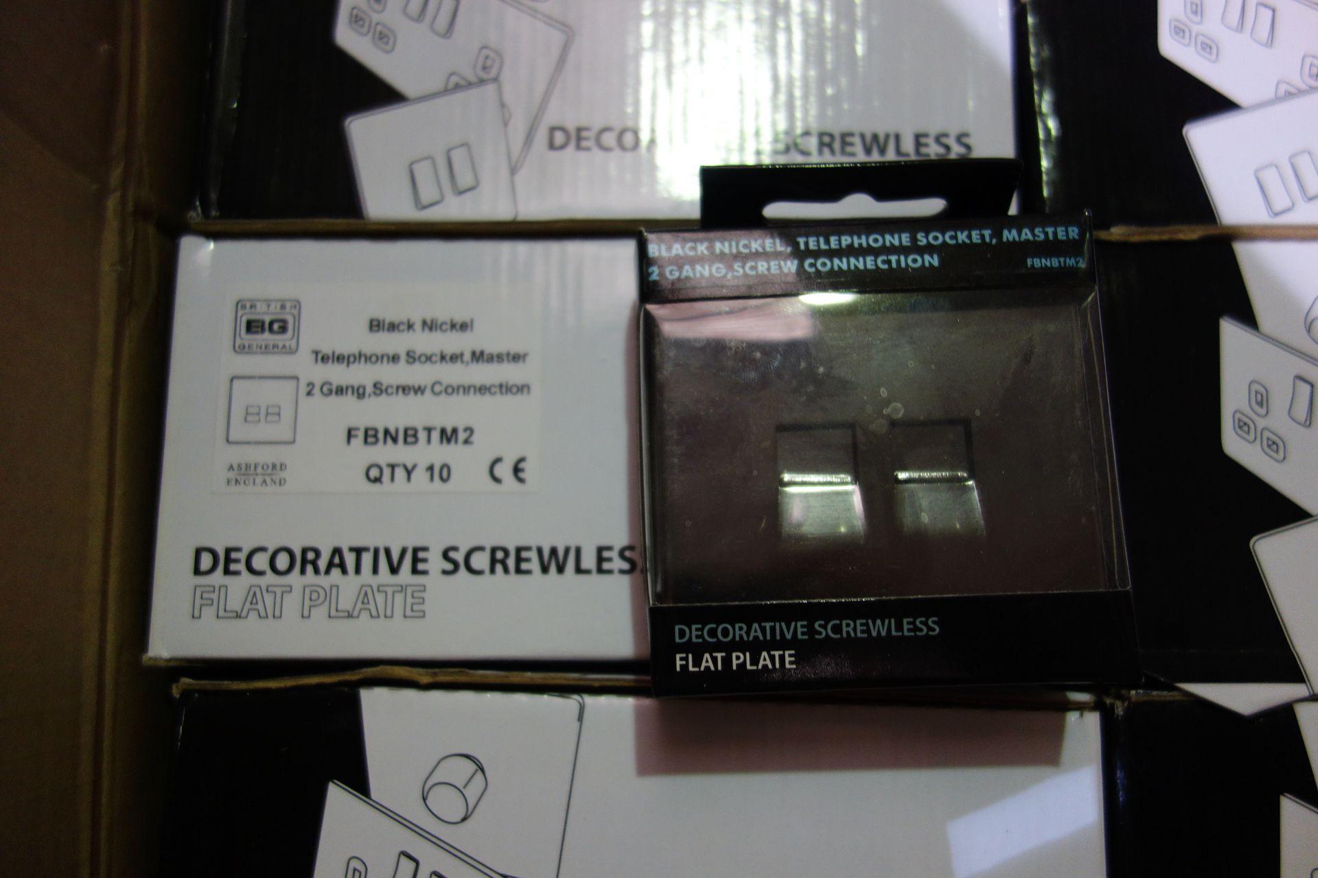 Lot 34 - 50 X BG FBNBTM2 2G Black Nickle Master Telephone Socket