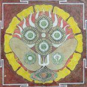 MANDALA, Tibet, Tempera/Papier, rechts unten unleser. signiert und dat. 1985, Ausschnittsmaß ca.