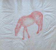 CHINESISCHE SCHULE, rote Tinte/ Papier, Prägedruck eines Pferdes, rechts unten großer Wasserfleck,