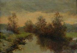 K., W. von, Monogrammist, Mitte 20. Jh., Öl/ Papier, Herbstliche Flusslandschaft, rechts unten