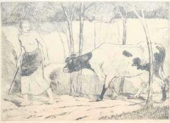 STERN, Max (*1872 Düsseldorf †1943 ebd.), Radierung, Bäuerin mit Kuh, rechts unten signiert,