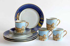 KAFFEEGEDECKE, 3-teilig, Satz von 4, Manufaktur Porcelaine de Paris, Creation Ed. Memory Chasses