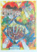 TOBIASSE, Théo (*1927 Jaffa +2012 Saint-Paul-de-Vence), Farblithographie, Menora, Früchtekorb vor