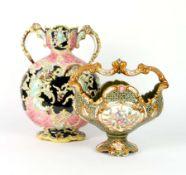 """MONDVASE""/ KORB, Historismus Epoche, Böhmen/ Thüringen, Keramik, polychromiert, Rokoko Stil,"