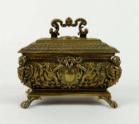 SCHMUCKSCHATULLE, Hiatorismus-Epoche, wohl Erhard & Söhne/ Schwäbisch-Gmünd, Bronze, Renaissance-