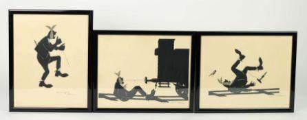 WALTER, Maria, 1920er Jahre, Scherenschnitte, Serie von 3, Versuch des Zahnziehens, je rechts