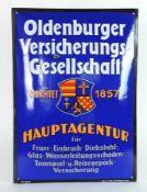 "EMAILLESCHILD, 1920er/30er-Jahre, bombiert, ""Oldenburger-Versicherungsgesellschaft"", Hersteller Boos"