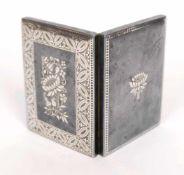 ZIGARETTENETUI, Viktorianische Epoche, Zinn, im Klappdecke bzw Boden Silber tauschiert bzw