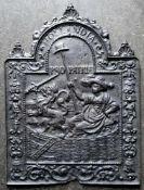 """OFENPLATTE, 18.Jh., """"Hollandia Pro Patriae"""", Gußeisen, Symbole für die Befreiung der Republik der"""