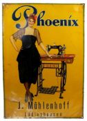 BLECHSCHILD/ WERBESCHILD, Deutsch, 1910er/20er Jahre, polychrom lithografiert, Phoenix, Herst. Felix