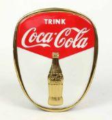 """BLECHSCHILD, 1950er Jahre, Nierenstil Epoche, """"Trink Coca Cola"""", geprägtes Blech in drei Farben,"""