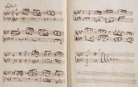 """Bach Englische Suiten - """"Passepied.""""(Kopftitel). Musikmanuskript auf festem Bütten. Nicht dat. (wohl"""
