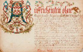 Probeschriftvon Friedrich Wilhelm Schwick. Norddeutschland, dat. 1755. Ca. 20,5 x 32 cm. Mit