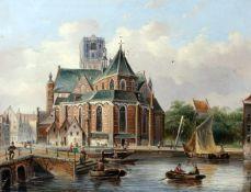 """""""St. Laurenskirche Rotterdam"""" - Johannes Frederik Hulk (1829-1911)Öl auf Holz, unten Mitte links"""
