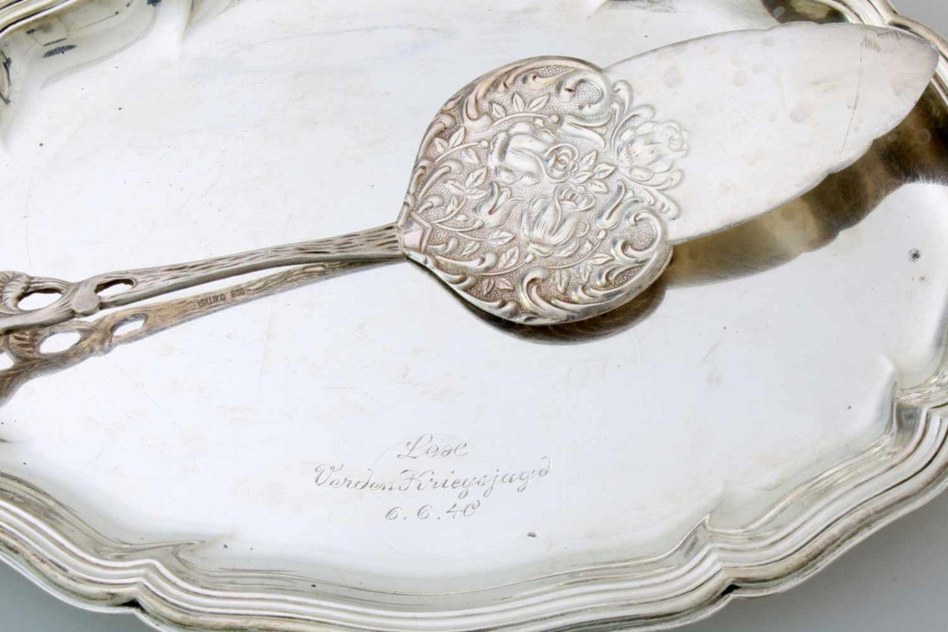 "Silbertablett und 5 Teile SilberTablett 830er Silber, graviert ""Lex Verden Kriegsjagd 6.6.40"", - Bild 2 aus 4"