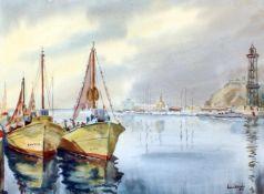 """""""Fischerboote im Hafen"""" - David Mercadé Recasens (20. Jahrhundert)Aquarell auf Papier, unten"""