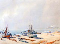 """""""Fischerboote am Strand"""" - David Mercadé Recasens (20. Jahrhundert)Aquarell auf Papier, unten rechts"""