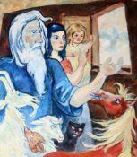 """""""Arche Noah"""" - Otto Schubert (1892-1970)Öl auf Leinwand, unsigniert, Noah blick mit Frau, Kind und"""