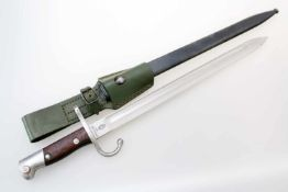 Argentinien - Bajonett Mauser M1909 (Argentinischer Hersteller)Blanke, gekehlte Rückenklinge.