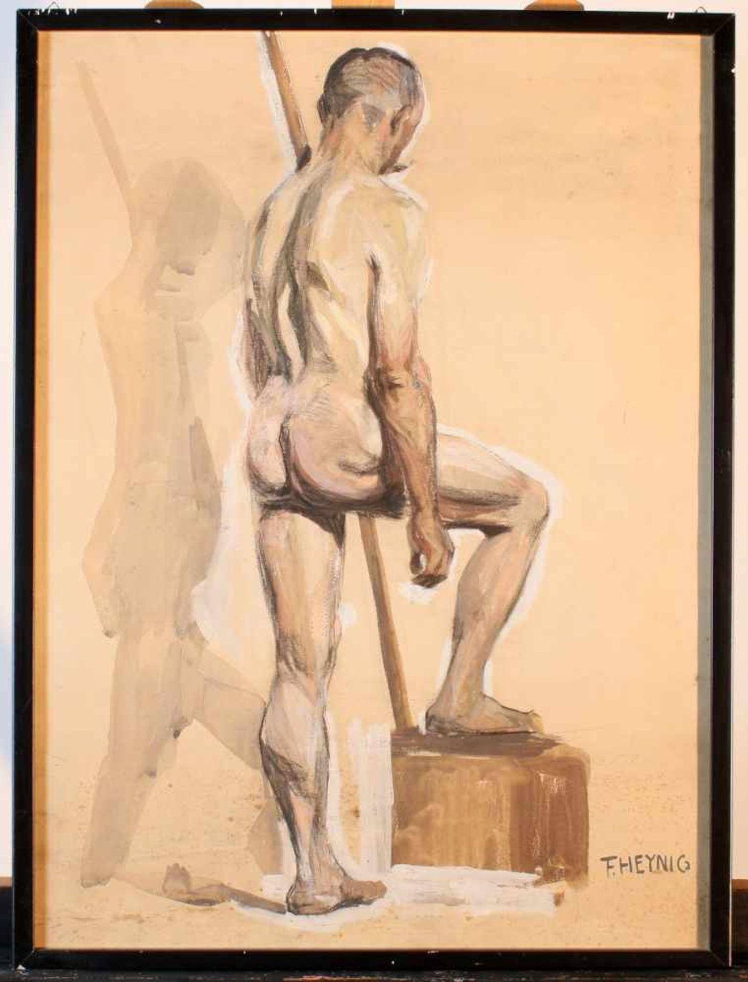 """2 Zeichnungen """"Männerakt"""" - Felix Heynig (1888-1950)1.) Kohlezeichnung, unten rechts signiert und - Bild 5 aus 5"""