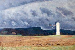 """""""Leuchtturm im Sturm"""" - Gen Niederer (1881-1957)Öl auf Leinwand, unten links signiert. Maße: 90 x 60"""