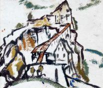 """Zitadelle"" - Johann Walter-Kurau (1869-1932)Öl auf Karton, rückseitig Stempel ""Johann Walter-"
