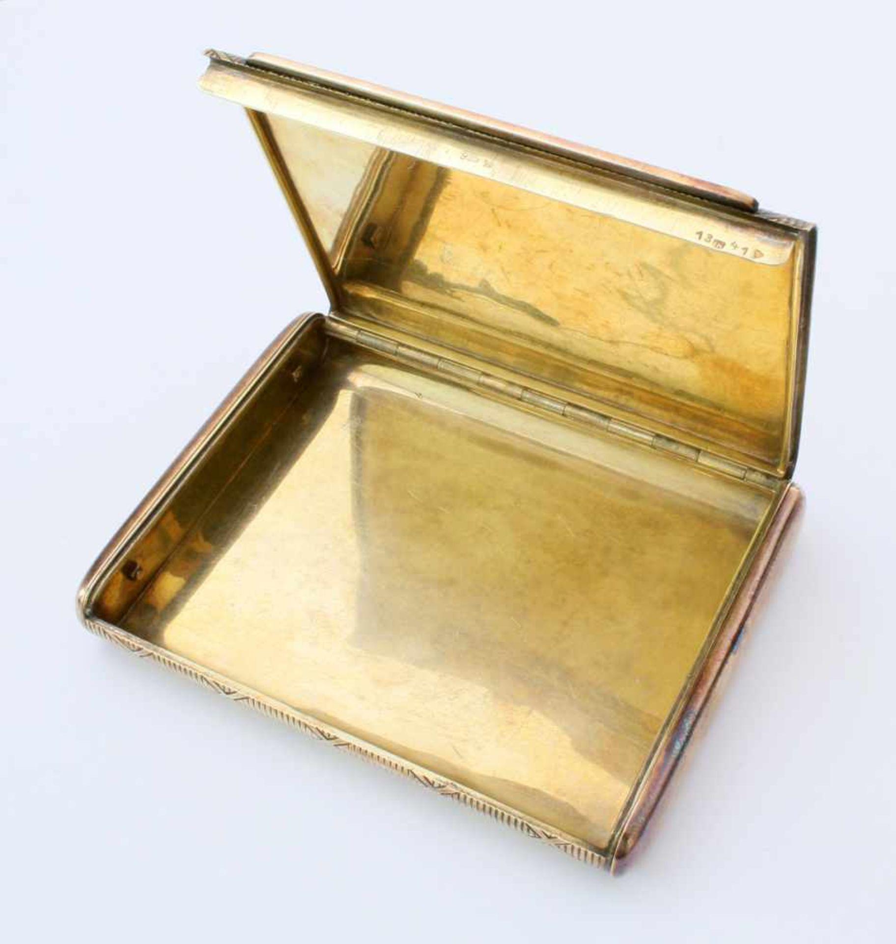 Silbernes und vergoldetes Zigarettenetui925er Silber, Hersteller wohl Gideon Bek, Pforzheim ( - Bild 2 aus 3