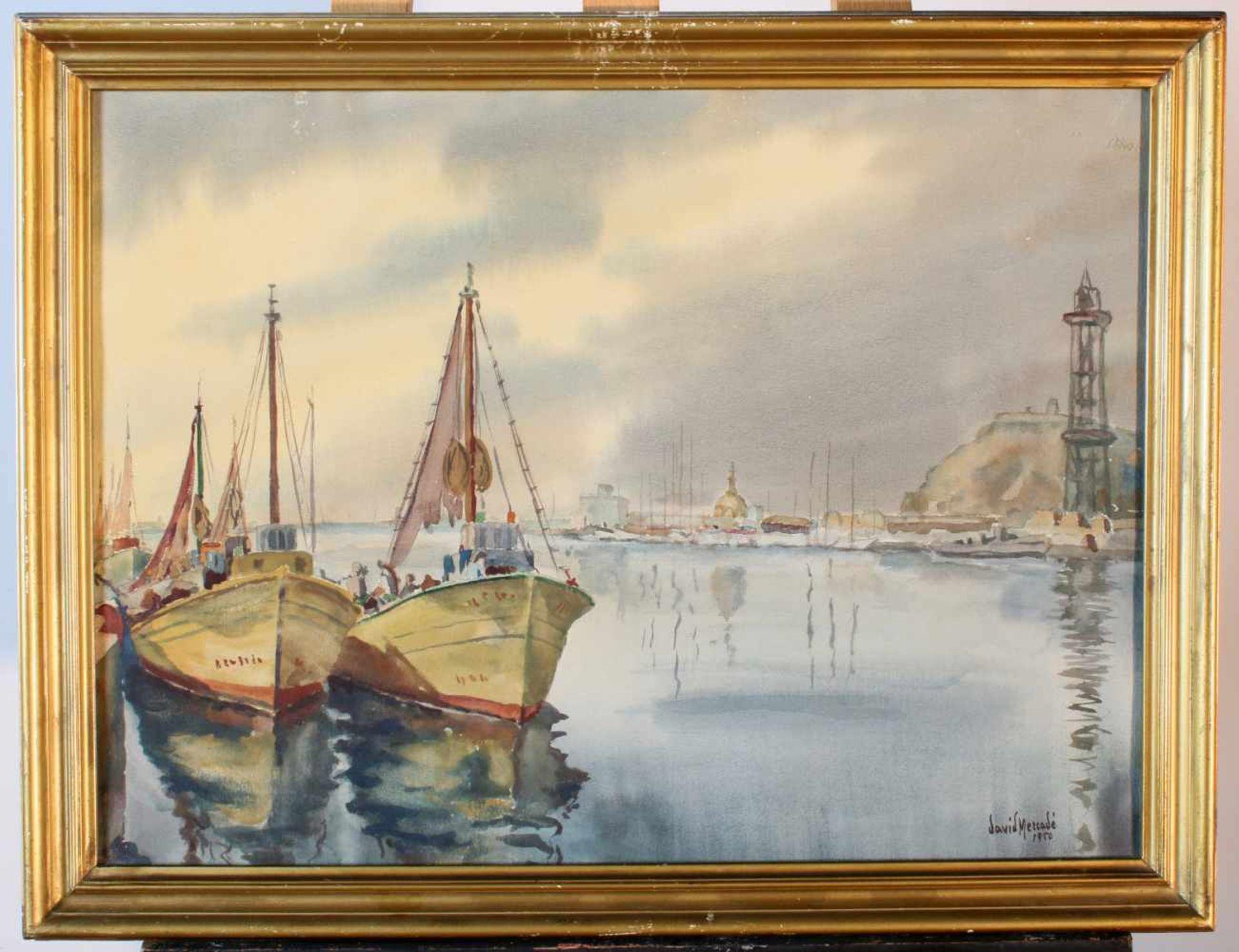 """""""Fischerboote im Hafen"""" - David Mercadé Recasens (20. Jahrhundert)Aquarell auf Papier, unten - Bild 2 aus 3"""