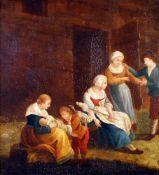 Gemälde - Bäuerliche Familienszene um 1800Öl auf Holz, rückseitg mit Längs- und Querhölzern