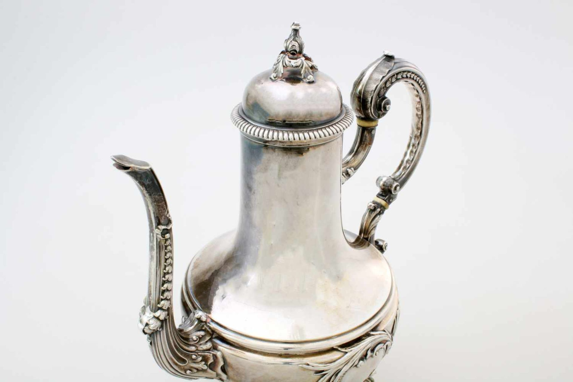 Silberne Kaffeekanne - Flamand & Fils, Frankreich nach 1838Silberne Garantie- und Feingehaltspunze - Bild 3 aus 4