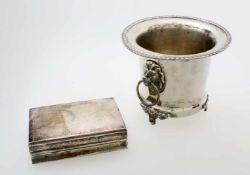 Versilberter, englischer Sektkühler und Deckeldose um 1900Sektkühler Hersteller Potter, Sheffield,