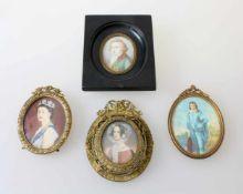 4 Miniaturmalereien - 19. / 20. Jahrhundert1x Ausdrucksstarke Miniatur, Portraitmalerei der Kaiserin