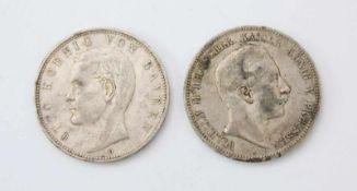 2x 5 Mark - Kaiserreich SilberWilhelm II. 1902 und Otto v. Bayern 1903.