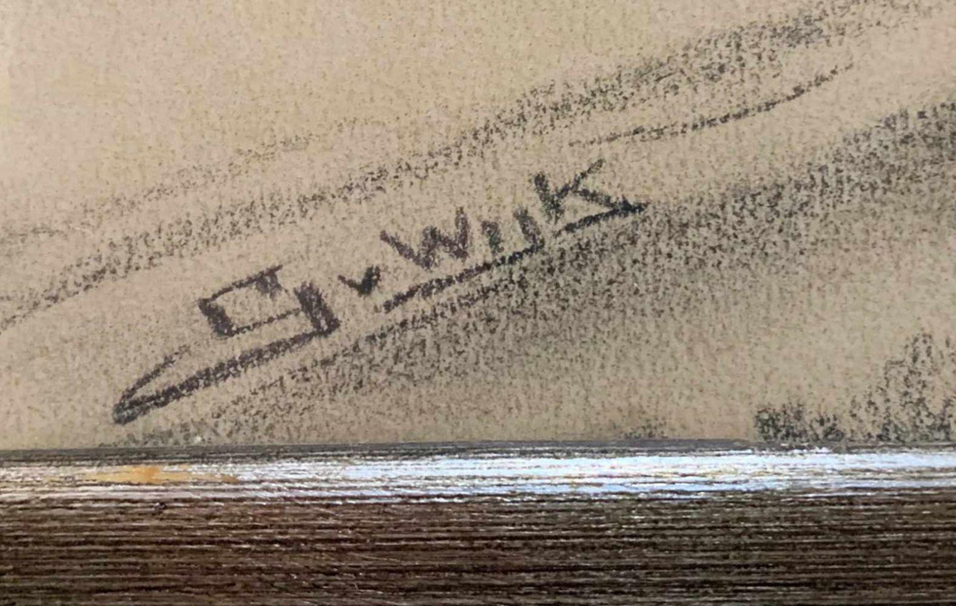 """""""Sterbendes Pferd"""" - G. van Wijk (20. Jahrhundert)Kohlezeichnung, Familie mit Planwagen in - Bild 2 aus 2"""