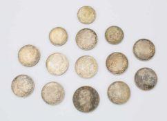 Konvolut deutscher Silbermünzen3M Otto v. Bayern 1909, 10x 5 RM Hindenburg, 3x 2RM.