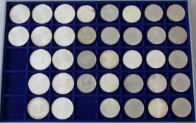 Deutsche Sondermünzen 5 und 10 DM, tw. Silber24x 5 DM, tw. Silber; 12x 10 DM Olympiade München 1972,