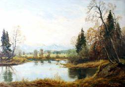 """""""See im Voralpenland"""" - Josef Rolf Knobloch (1891-1964)Öl auf Leinwand, unten rechts signiert und"""