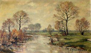 """""""Herbstliche Bachlandschaft"""" - E. Grützner (evtl. Eduard von Grützner 1846-1925)Öl auf Leinwand,"""