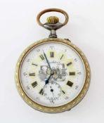 Große Eisenbahner-UhrBrüniertes Metallgehäuse mit verzierter Lünette und Gehäuserand in Messing;
