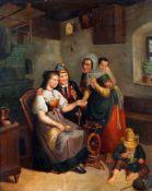 """""""Wahrsagerin im Bauernhaus"""" - im Stil Defreggers - 19. JahrhundertÖl auf Leinwand, feine Malerei,"""
