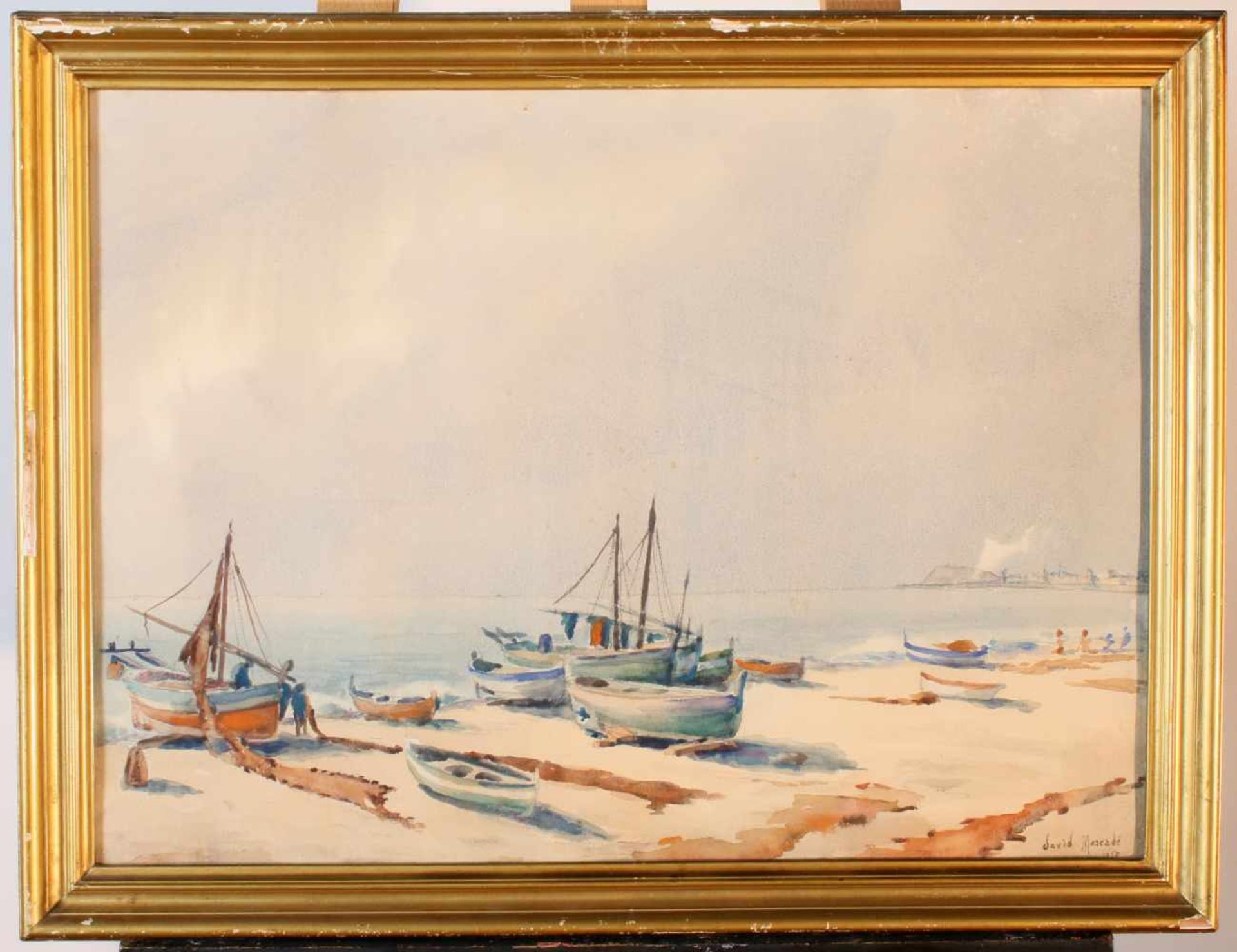 """Fischerboote am Strand"" - David Mercadé Recasens (20. Jahrhundert)Aquarell auf Papier, unten rechts - Bild 2 aus 3"