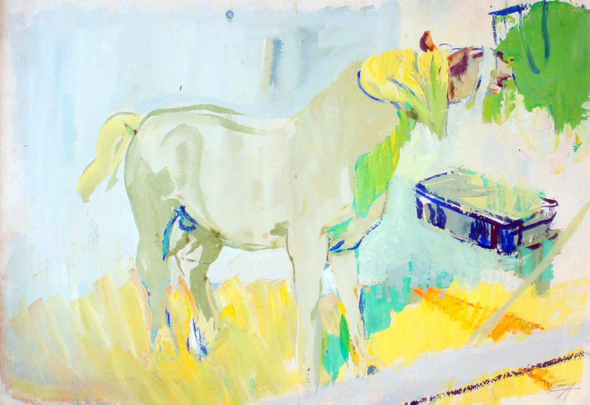 """""""Pferd an der Heutraufe"""" - Eduard Aigner (1903-1978)Aquarell auf dickem Papier, unten rechts"""