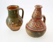Mittelamerika - 2 polychrome KeramikgefäßeEinhenkliger, polychromer Krug, möglicherweise