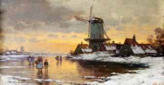 """""""Holländische Winterlandschaft"""" - Carl Bertold (1870-?)Öl auf Leinwand, unten rechts signiert,"""